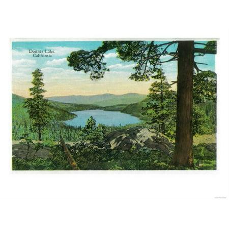 Donner Lake, California from Ridge - Donner Lake, CA Print Wall Art By Lantern - Donner Lake California
