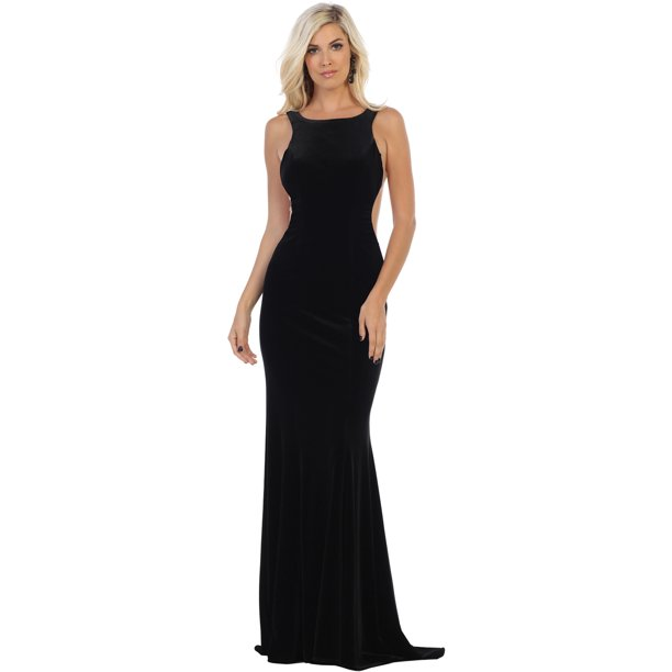 designer prom dresses : SALE! PROM STRETCHY VELVET DESIGNER DRESS FDS7709