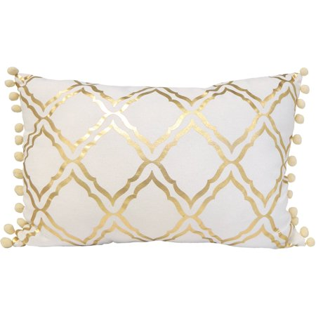 Better Homes Gardens Trellis Foil Pillow With Pom Poms Walmart Cool Better Homes And Gardens Ivory Dot Oblong Decorative Pillow