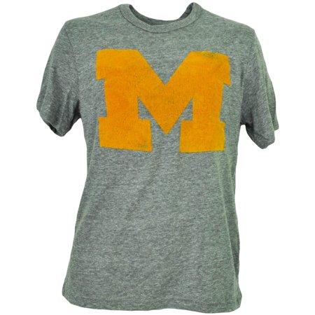 NCAA Michigan Wolverines Felt Logo Mens Adult Tshirt Tee Gray Crew Neck XLarge (Halloween Stores Michigan)