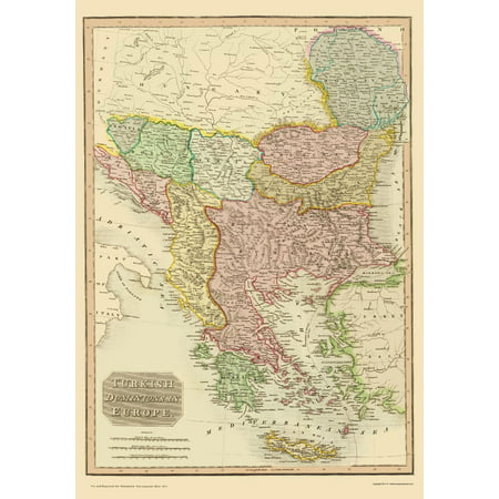 Old Middle East Map   Turkey In Europe   Thomson 1815   23 X 32 89