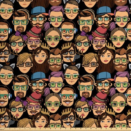 Geek Fabric by The Yard, Various Faces of Cartoon Men and Women Characters Stereotypical Hipster Fashion Theme, Decorative Fabric for Upholstery and Home Accents, by Ambesonne