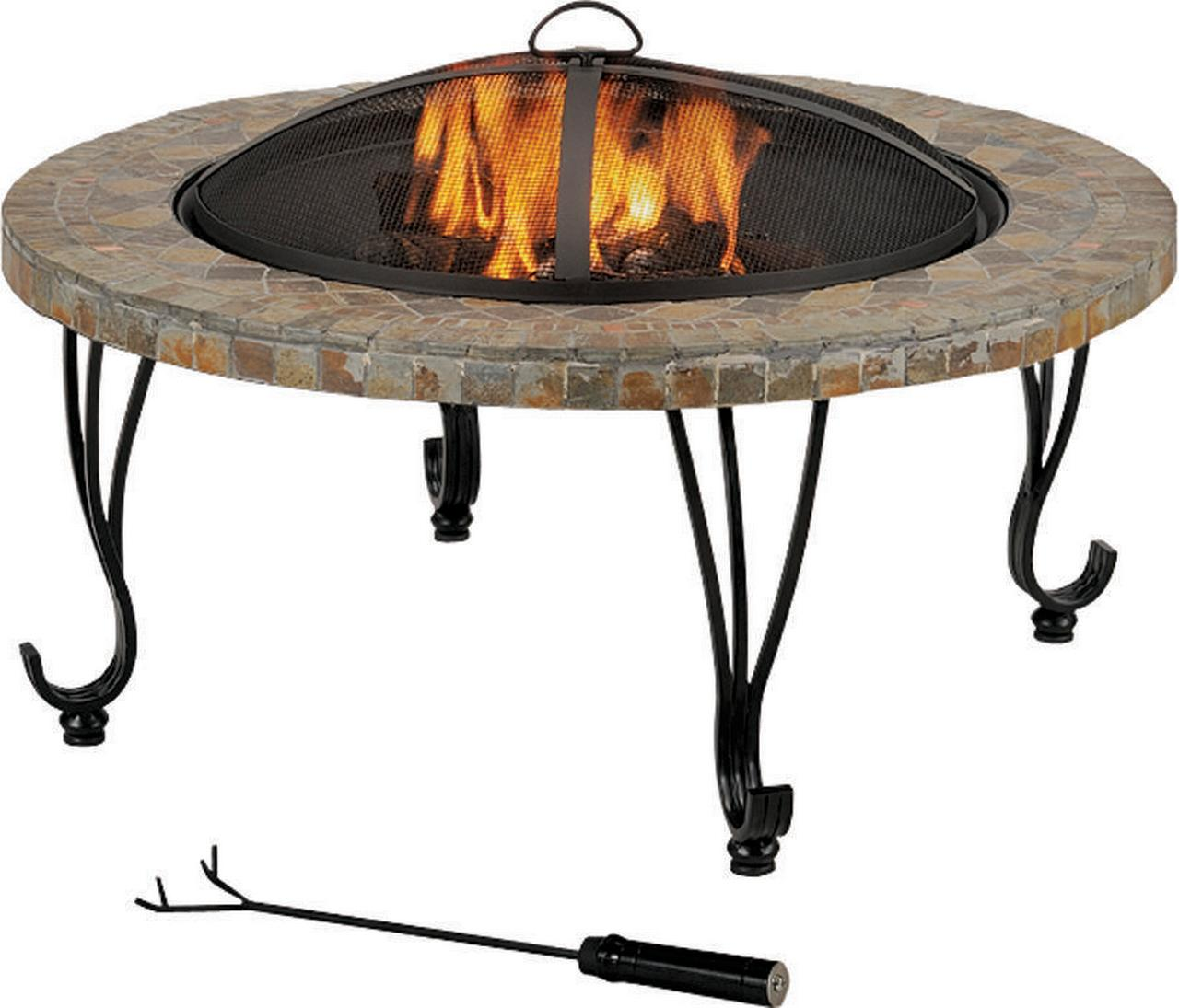 ProSource FTB-121 Round Outdoor Firepit With Slate Top by Mintcraft
