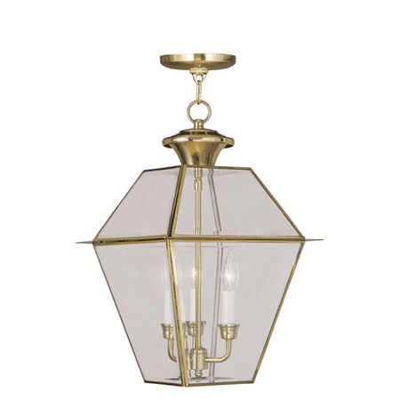 Outdoor Pendants 3 Light With Clear Beveled Glass Polished Brass size 12 in 180 Watts - World of Crystal