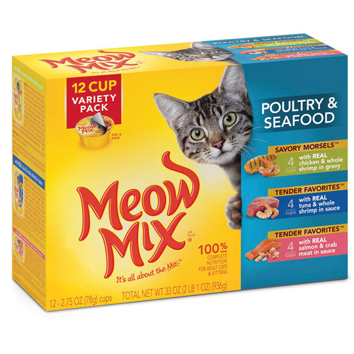 Meow Mix Poultry and Seafood Wet Cat Food Variety Pack, 2.75-Ounce Cups (Pack of 12)