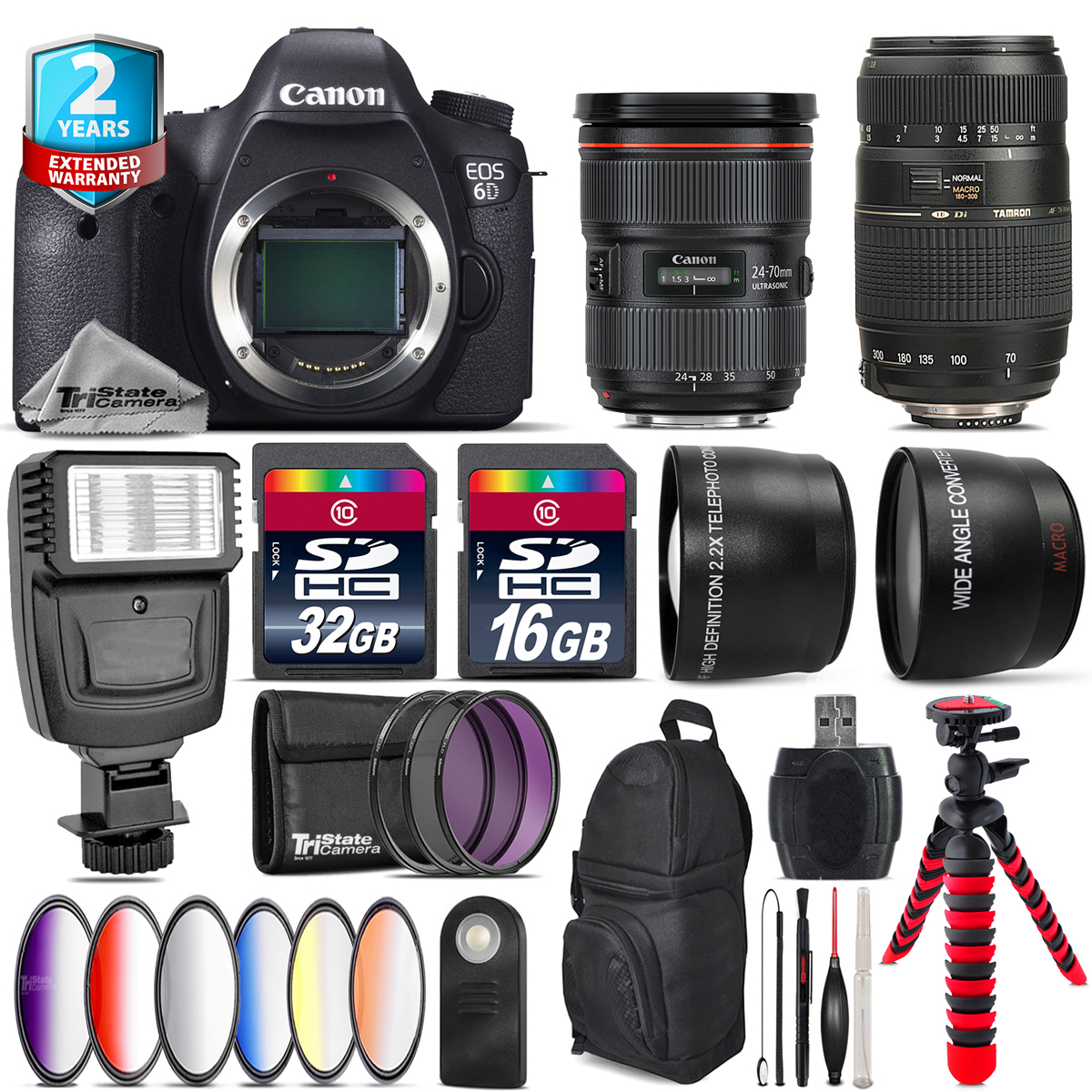 Canon EOS 6D Camera + 24-70mm 2.8L II + Tamron 70-300mm + Slave Flash -48GB Kit by Tri StateCamera