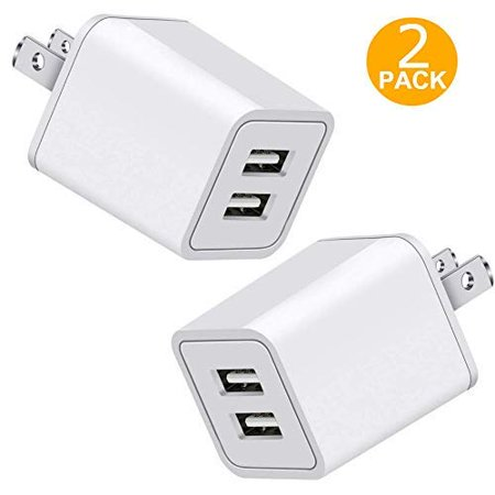 USB Charger, 5V Dual 2-Port 2.4 Amp Wall Charger USB Plug Charger Wall Plug Power Adapter Fast Charging Cube Compatible with Apple iPhone, iPad, Samsung Galaxy, Note, HTC, LG & More (White) (Fast Charging Power Bank For Note 5)