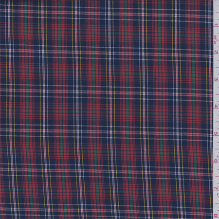 Red/Blue Multi Plaid Shirting, Fabric Sold By the Yard