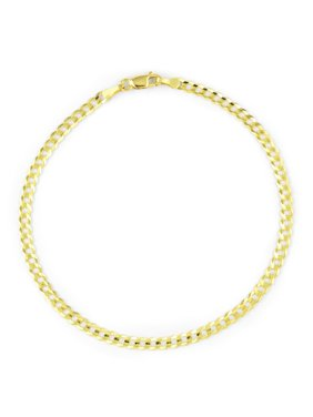 """14k Yellow Gold Women Solid 2.5mm Curb Cuban Chain Bracelet or Anklet 7""""-9"""""""
