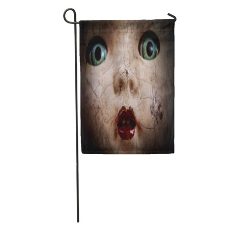 SIDONKU Horror Scary Cracked Old Doll Face Shallow Focus Antique Halloween Abuse Garden Flag Decorative Flag House Banner 28x40 inch