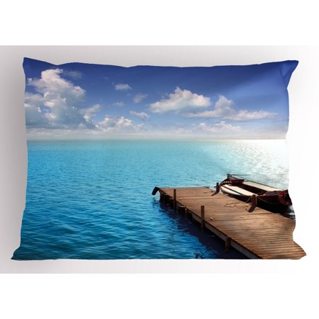 Summer Pillow Sham Wooden Deck on Charm Lake Holiday Europe Coast Tranquil Sea View, Decorative Standard Size Printed Pillowcase, 26 X 20 Inches, Violet Blue Turquoise Redwood, by