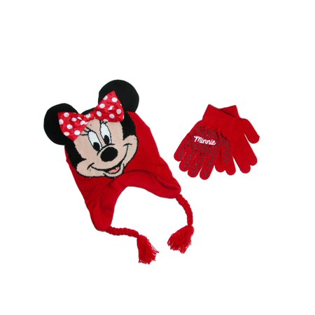Disney Girl's Minnie Mouse Hat and Gloves Winter Set, Size: one size Red - Michael Jackson Hat And Glove For Kids