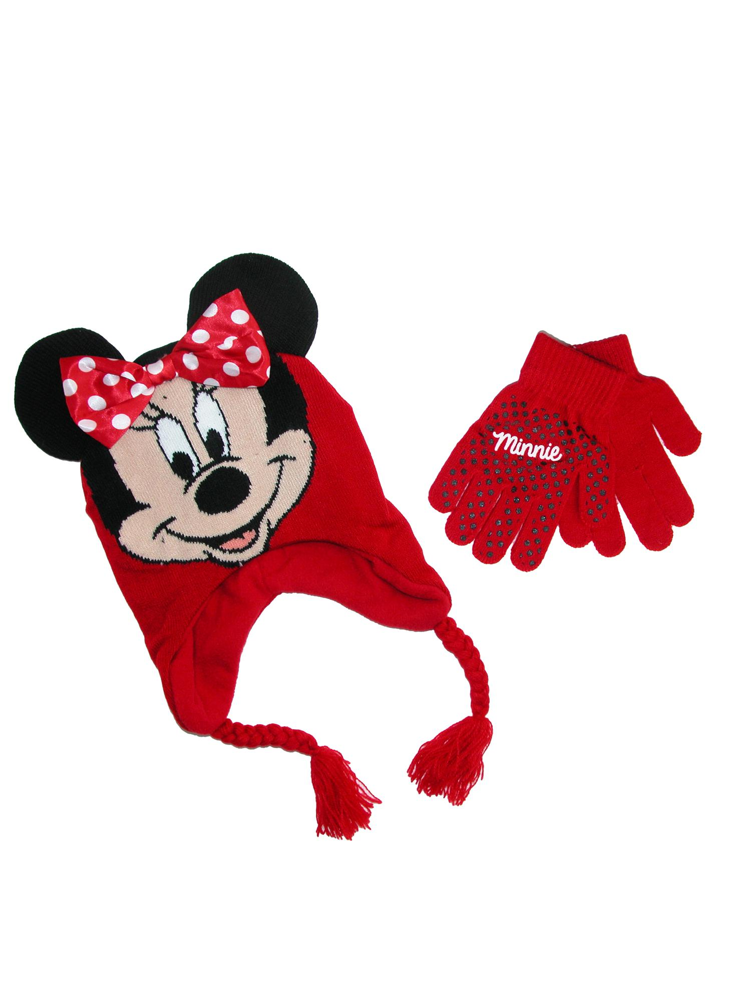 Disney Girl's Minnie Mouse Hat and Gloves Winter Set, Size:  one size