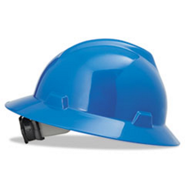 MSA Blue V-Gard Polyethylene Slotted Full Brim Hard Hat With Fas Trac Ratchet Suspension by MSA (Mine Safety Appliances Co)