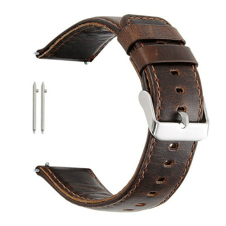 - Mignova Genuine Leather Watch Band Strap Metal Butterfly Clasp 18mm 22mm 23mm(23mm-Dark Brown)