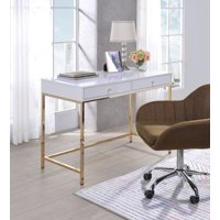 Acme Ottey Metal Frame Desk in White High Gloss and Gold