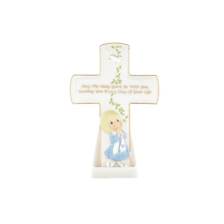 """""""May The Holy Spirit Be With You"""" Confirmation Cross, Confirmation Girl with hands clasped in prayer porcelain cross By Precious Moments"""