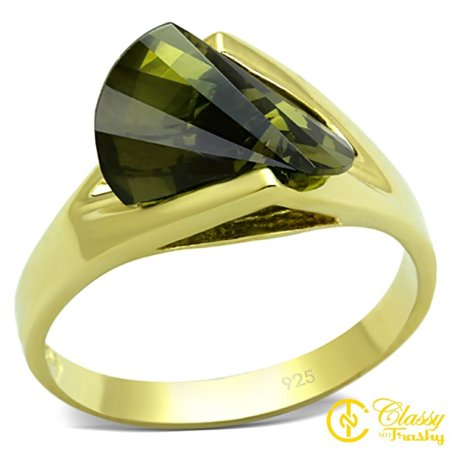 Classy Not Trashy® Size 11 Women's Gold Toned Sideway Trilliant Ring with Green - Trilliant Light