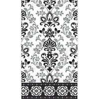 "black, silver and white ornate damask eco guest paper towels | 16 ct. | 8"" x 4"""