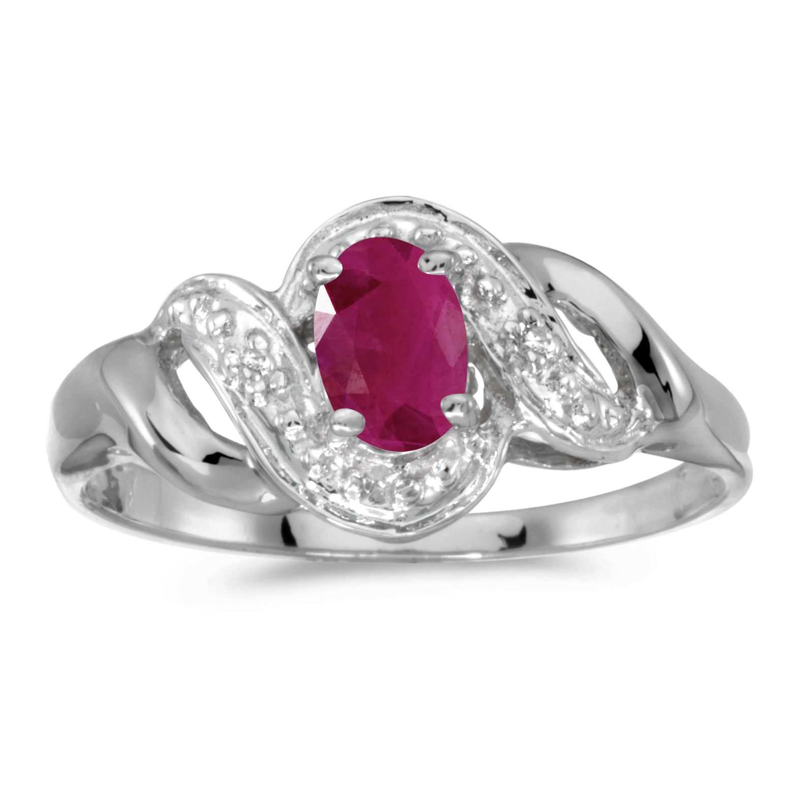 10k White Gold Oval Ruby And Diamond Swirl Ring by