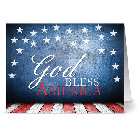24 Patriotic Note Cards - God Bless America - Blank Cards - Red Envelopes Included