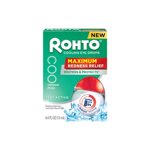 Rohto Cooling Maximum Redness Relief Eye Drops, 0.4 Fl Oz