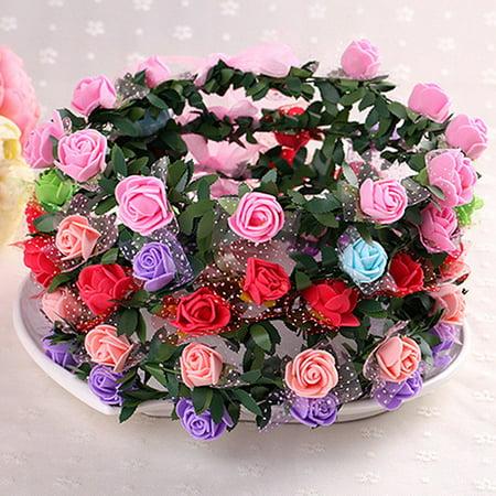 Moderna Rose Flower Crown Headband Wreath Party Wedding Bridal Garland Hairband Headwear