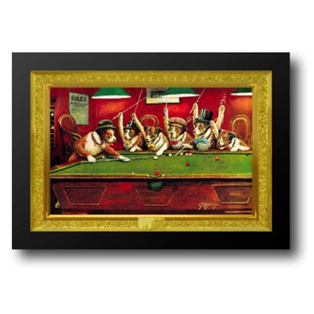 Dogs Playing Pool 40x28 Framed Art Print by Coolidge, Cassius -