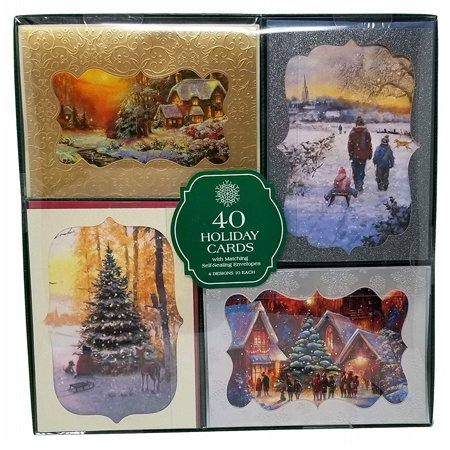 Hallmark Style 40-Count Christmas Holiday Cards with Envelopes - Snowy Landscape ()