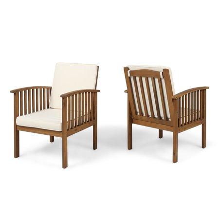 Ray Acacia Outdoor Acacia Wood Club Chairs, Set of 2, Brown Patina and Cream