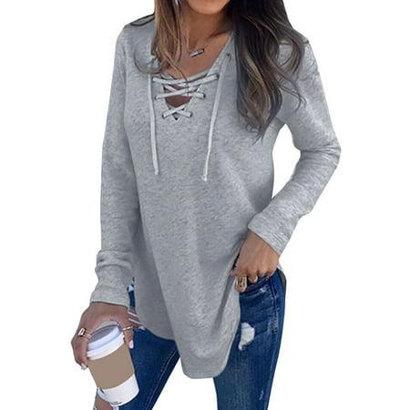 Nlife Women Long Sleeve Lace Up V Neck Long Sleeve (White Long Sleeve V Neck Crop Top)