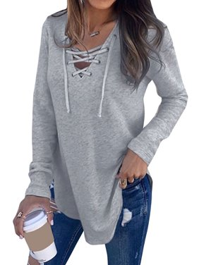 Nlife Women Long Sleeve Lace Up V Neck Long Sleeve Top