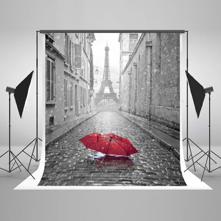HelloDecor Polyster 5x7ft Rain Paris Eiffel Tower Red Umbrella Party Decorations Photo Backdrop Photography Studio Background - Eiffel Tower Party Decorations