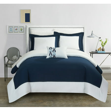 Chic Home 8 Piece Uma Modern Two Tone Reversible Hotel Collection With Embellished Borders And