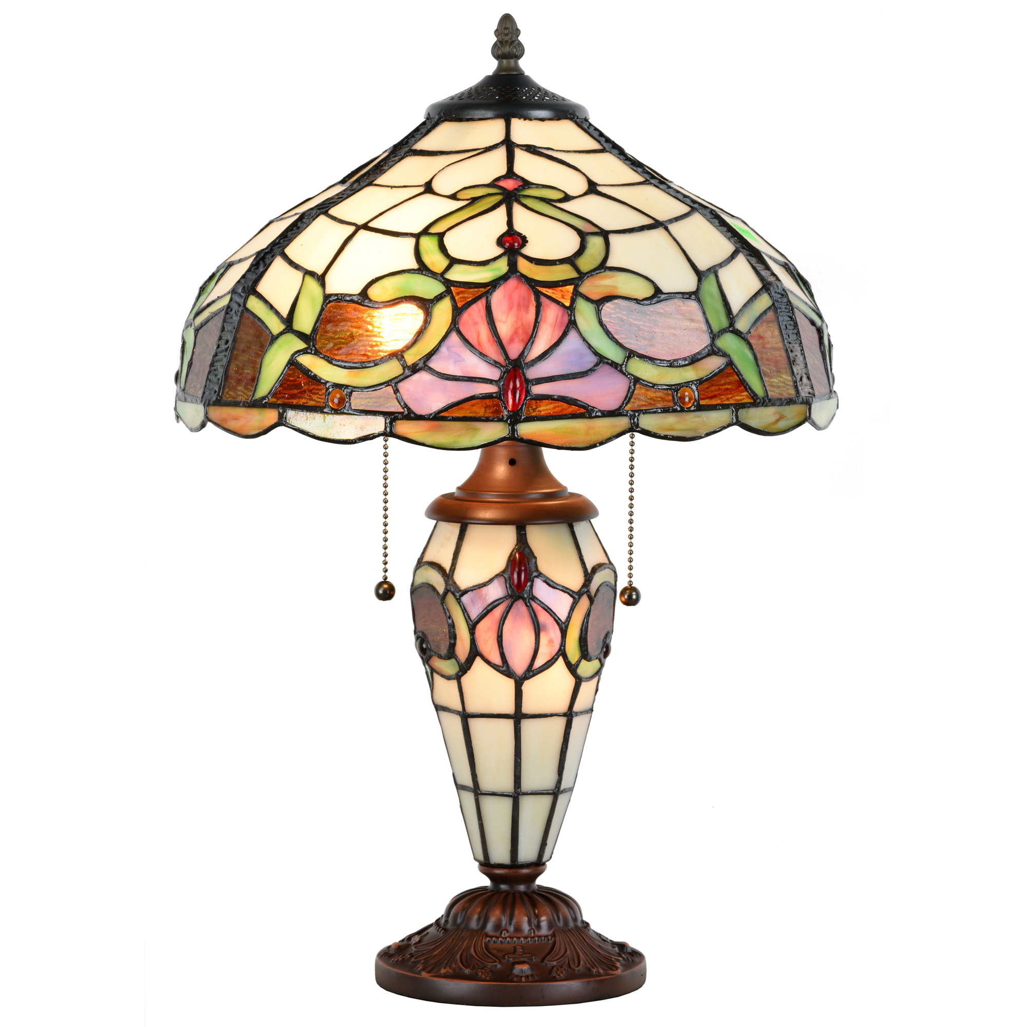 "Cloud Mountain Tiffany Style 14.25"" Lampshade Table Lamp Victorian Double Lit Desk Lamp Stained Glass Home Decor Lighting"