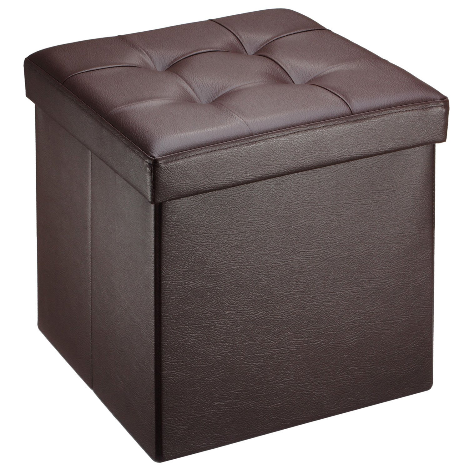 Ollieroo Faux Leather Folding Collapsible Storage Ottoman, Brown