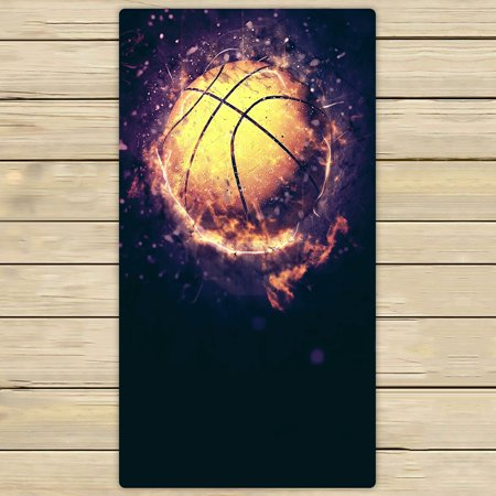 - PHFZK Sports Towel, Fire Basketball Hand Towel Bath Bathroom Shower Towels Beach Towel 30x56 inches