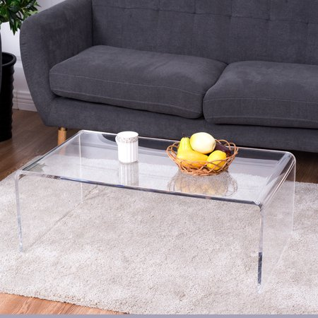 Costway Clear Acrylic Coffee Table Cocktail Waterfall Table 37 x 21 x 14 Inch Home Decor for $<!---->