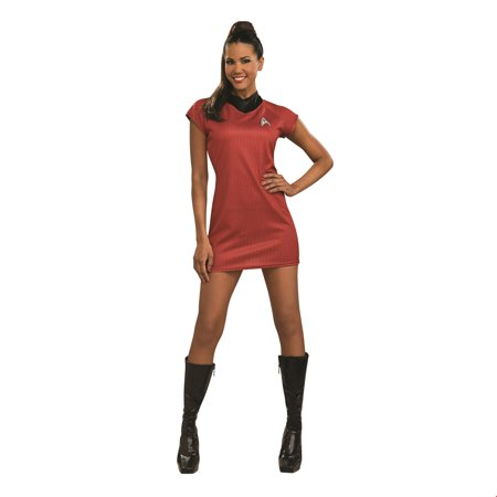 Star Trek Womens Movie Deluxe Red Dress Adult Halloween Costume - Red Star Trek Costume