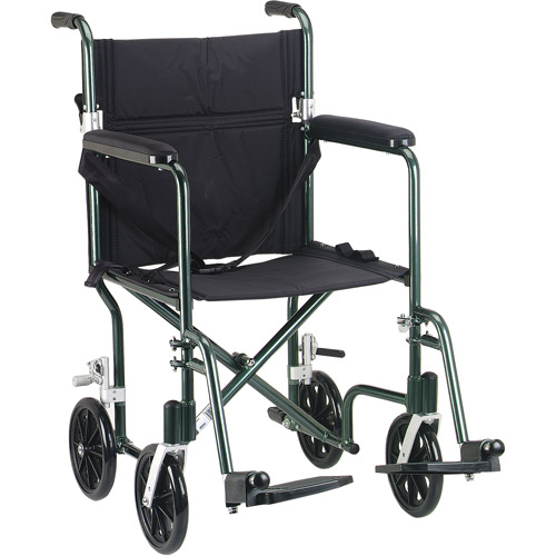 "Drive Medical Flyweight Lightweight Folding Transport Wheelchair, 17"", Green Frame, Black Upholstery"