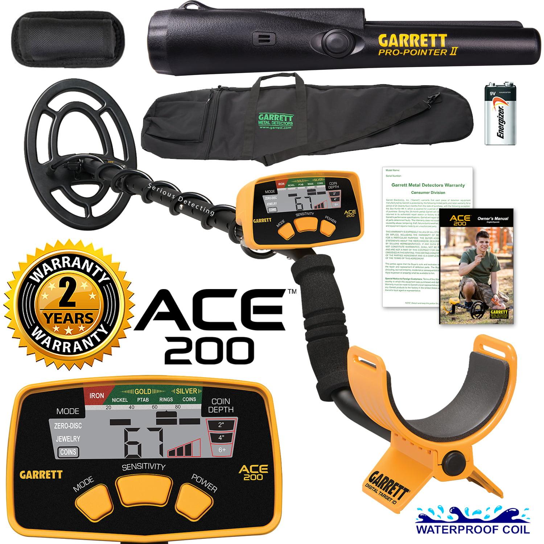 Garrett ACE 200 Metal Detector with DD Waterproof Search ...