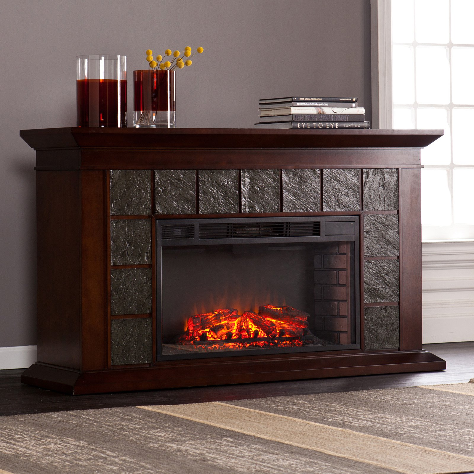 Southern Enterprises Mendicino Wide Firebox Electric Fireplace