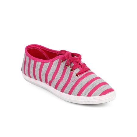 Wild Diva DF34 Women Striped Canvas Round Toe Classic Lace Up Sneaker