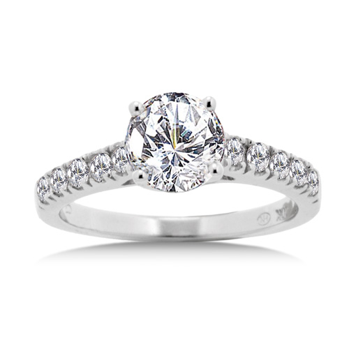 Round Cut Cubic Zirconia Ring in White Gold Walmartcom