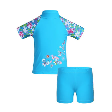 aa6b66564a iefiel - Girls Short Sleeves Rash Guard and Shorts 2pc Set Swimsuit -  Walmart.com