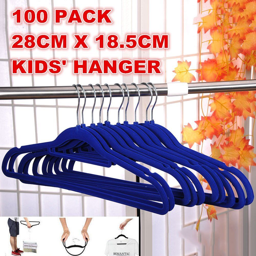 100 X Flocked Non Slip Velvet Chrome Clothes Suit/Shirt/Pants Baby Hangers Set 100PCS,Blue