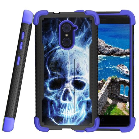 premium selection 6fbe5 08af8 ZTE Imperial Max Case | ZTE Kirk Case | ZTE Grand X Max 2 Blue Silicone  Case [ShockWave Armor] High Impact Kickstand Case - Blue Fire Skull