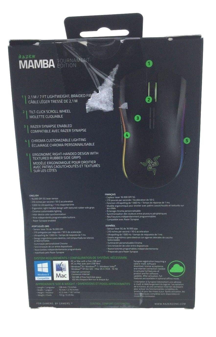 Seller refurbished Razer Mamba Tournament Edition Chroma Ergonomic Gaming  Mouse RZ01-01370100