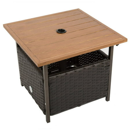 Naturefun Outdoor Pe Wicker Square Bistro Side Table Garden Leisure Coffee With Umbrella Hole