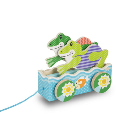 Melissa & Doug First Play Friendly Frogs Wooden Pull Toy (Frolicking Frog Pull Toy)